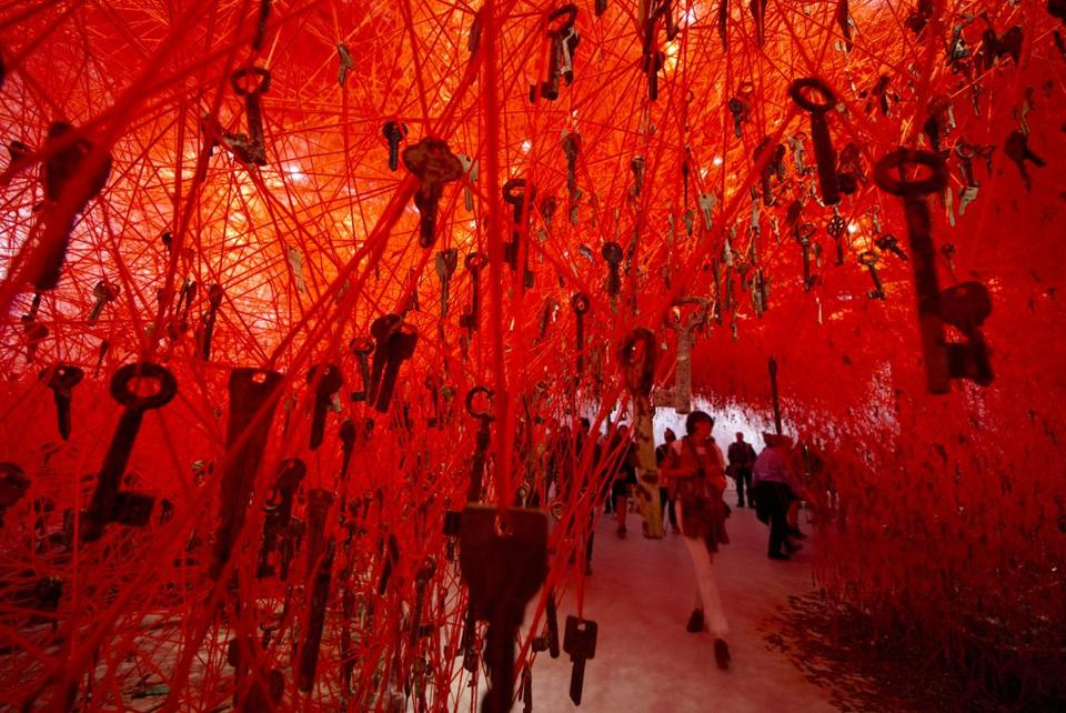 Chiharu Shiota's installation 'The Key in the Hand.""